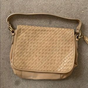 Brand new Cole Haan tan weaved leather purse